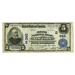 Irving National Bank, New York, $5, Series of 1902 Plain Back, KL#1159, Ch#E 345.