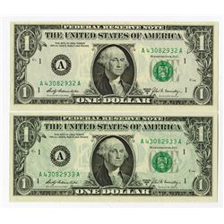 U.S. F.R.N., $1 Series 1969 B Uncirculated Sequential Pair Error.