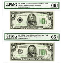 U.S. F.R.N., $50, Series 1934 A, Fr#2103-B (BA Block), High grade Sequential Pair.