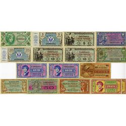 U.S. M.P.C., Lot of 16 Different Notes.