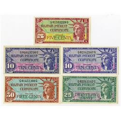 U.S. M.P.C., Lot of 5 Different Series 591 Notes.