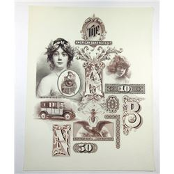 American Bank Note Co., ca. 1920-50's Advertising Vignette Sheet.