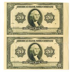 American Bank Note Co., ca.1920-30's Uncut Proof Sample Banknote Pair on Yellow Paper.