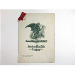 Arts and Crafts Club of the ABNC, 1919-1920 Menu and Program.