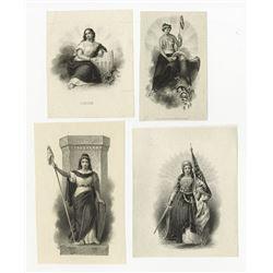 """Patriotic """"Liberty"""" Vignette Quartet, ca. 1840-1860's."""