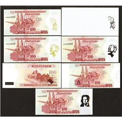 DuraNote Predecessor Polymer Banknote Advertising Note Specimens.