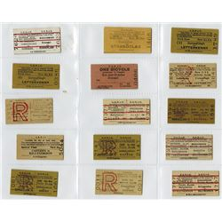 County Donegal Railways Joint Committee, ca. Early 19th Century, Group of 16 Rail Tickets