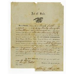 "New Orleans Slavery document of a Bill of Sale dated 1854 of ""Three NegroesÉ.Abraham, Maria and Caro"