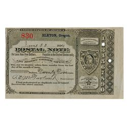 U.S. Postal Note, Type V, Eldkton, Oregon, June 30, 1894, 25 cents, S/N 830.