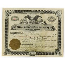 Macomber Motors Co., 1913 I/U Stock Certificate.