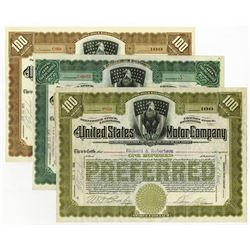 United States Motor Co., 1910 I/U Lot of 3 Different Stock Certificates.