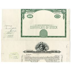 American Austin Car Co., ND (ca.1920-30's) Specimen and Proof Stock Certificate.