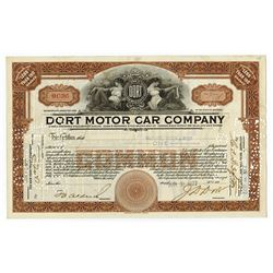 Dort Motor Car Co., 1922 I/C Stock Certificate.