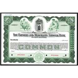 Farmers and Merchants National Bank of Los Angeles, 1935 Specimen Stock Certificate.