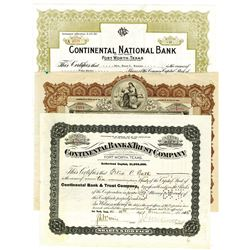 Group of Continental Bank & Trust Co. ca.1915-1950 Cancelled Stock Certificates
