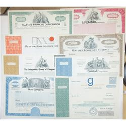 Scripophily Group of 17 Insurance and Financial Related Stock Certificates, ca.1960-80's.