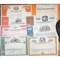 Scripophily Group of 19 Banking and Financial Related Stock Certificates, ca.1960-80's.