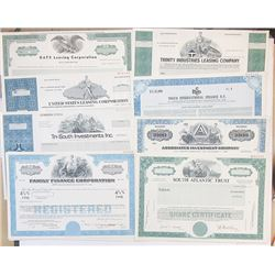 Scripophily Group of 19 Financial Related Stock Certificates, ca.1960-80's.