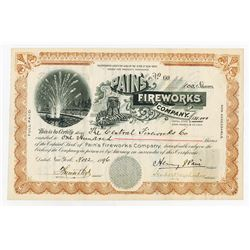 Pain's Fireworks Co., 1896 Issued Stock Certificate.