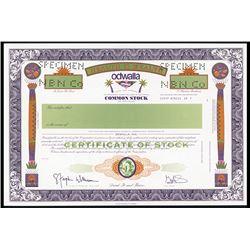 Odwalla, Inc. 1970-80's Specimen Stock Certificate.