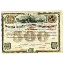 El Banco Chileno Garantizador de Valores, 1904 Specimen Bond