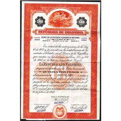 Republica De Colombia 1943 Specimen Bond.