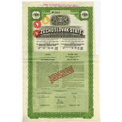 Czechoslovak State, 1922 Cancelled Bond