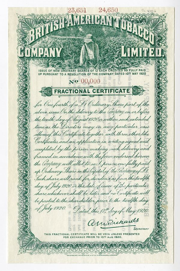 British-American Tobacco Co , 1920 Specimen Fractional