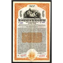 Government of the French Republic, 1920 Specimen Bond.