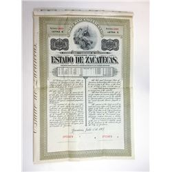 Estado de Zacatecas 1907 Specimen Bond.