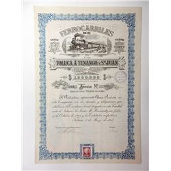 Ferrocarriles Toluca A Tenango Y Sn. Juan, 1907 Issued Trio of Bonds