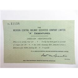 Mexican Central Railway Co. Trio of Issued Certificates 1881-1917