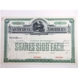 Mexican Northern Railway Co., 1909 Specimen Stock Certificate Pair.