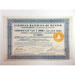 Pair of Mexican Railroad Issued Stock Certificates ca.1913-1921