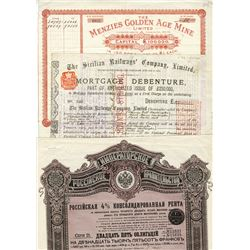 Assortment of Worldwide Certificates ca.1885-1897, 3 Pieces.