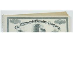 Richmond Elevator Co., ca.1880-1900 Lot of Unissued Stock Certificates