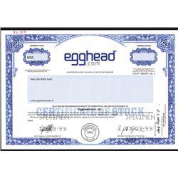 Egghead.com, Inc., 1999 Dot Com Specimen Stock Certificate.