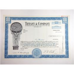 Tiffany & Company, 1975 Specimen Stock Certificate.