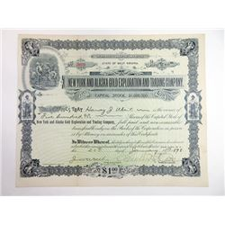 New York and Alaska Gold Exploration and Trading Co. 1898 Issued Stock Certificate.