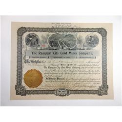 Rampart City Gold Mines Co., 1905 Issued Alaska Mining Stock Certificate.