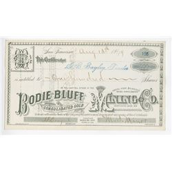 Bodie Bluff Consolidated Gold Mining Co., 1879 Issued Stock Certificate.