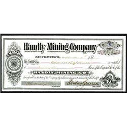 Handily Mining Company Issued Shares. 1878.