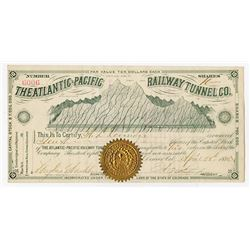 Atlantic=Pacific Railway Tunnel Co., 1885 I/U Stock Certificate.