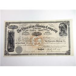 Yuscaran Mining Co. 1886. I/U Stock Certificate.