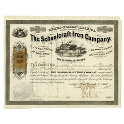Schoolcraft Iron Co., 1868 Issued Stock Certificate with Imprinted 25ct U.S.I.R. Revenue.