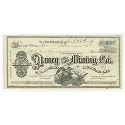 Daney Gold & Silver Mining Co., 1876 Issued stock certificate.