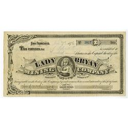 Lady Bryan Mining Co., 1876 Issued Stock Certificate.
