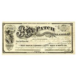Rye Patch Consolidated Mill & Mining Co., 1874 Issued stock certificate.