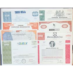 Scripophily Group of 22 Technology and Related Stock Certificates, ca.1960-80's.