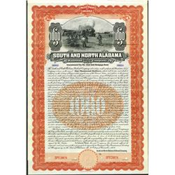 South and North Alabama Railroad Co. 1904 Specimen Bond.